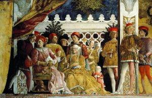 Comnata degli sposi. Detal fresku ściennego, markiz Mantu w otoczeniu stojących dworzan
