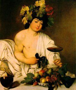 Caravaggio, Bachus. Obraz Caravaggia przedstawia młodego boga wina z koszem owoców, kielichem i rozchylonymi szatami.