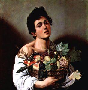 Caravaggio, chłopiec z koszem owoców. Młodzieniec z koszem owoców ukazanych realistycznie, na ciemnym tle.