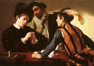 caravaggio, grający w karty, szulerzy. Obraz przedstawia trzech młodych mężczyzn grających w karty, oszustwo jest wyraźnie widoczne. Żywe barwy, ciemne tło